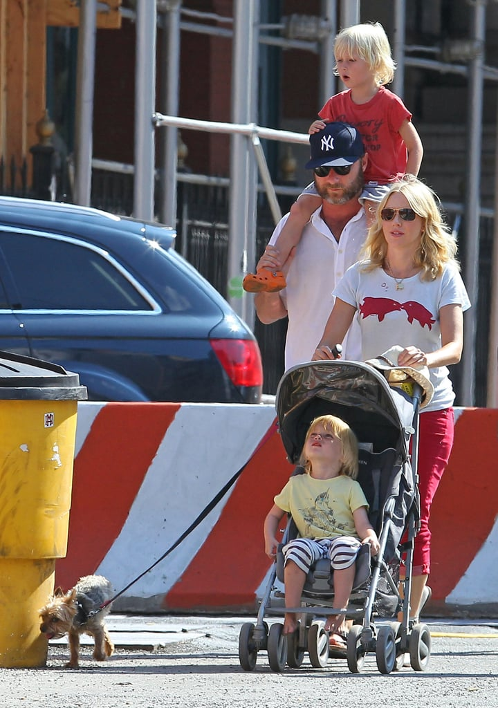 Naomi Watts and Liev Schreiber with Sasha and Samuel in NYC.