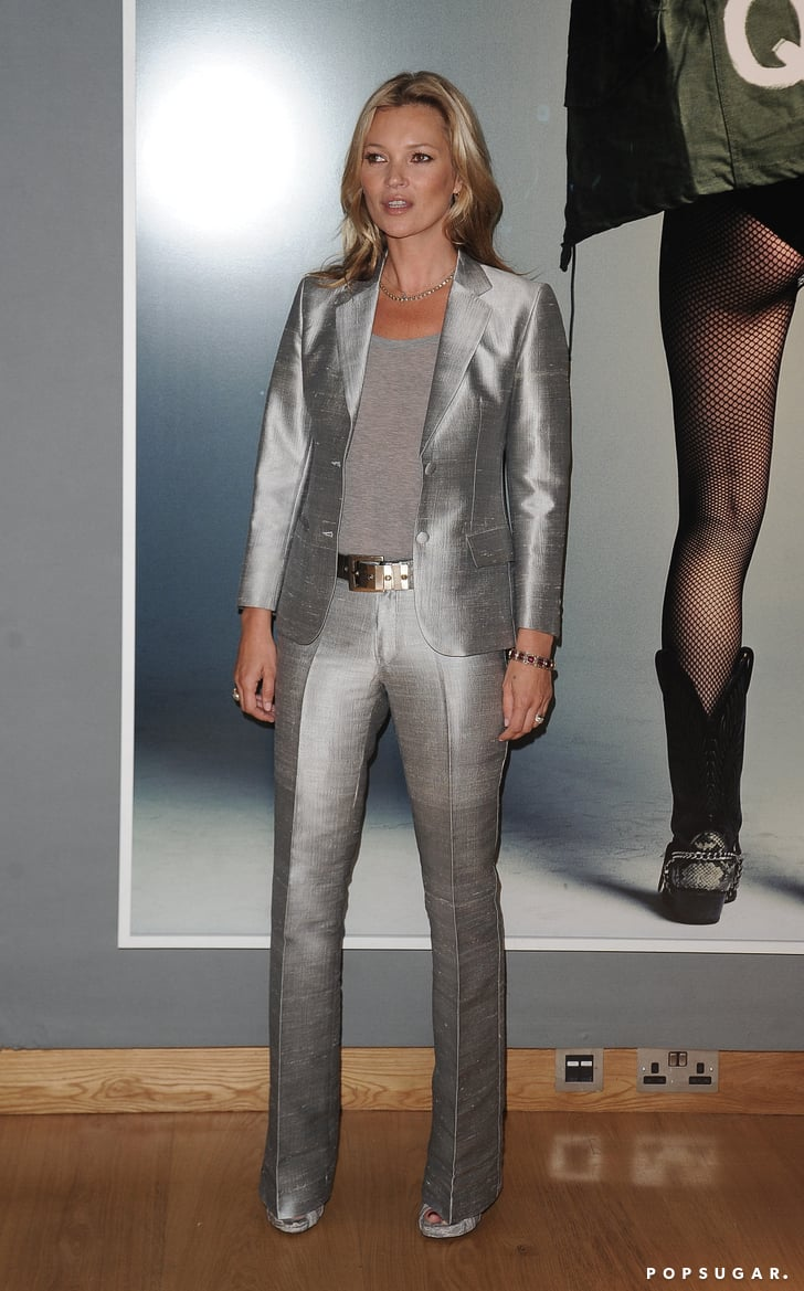 Kate Moss in a Silver Suit at Christie's Photo Auction ...