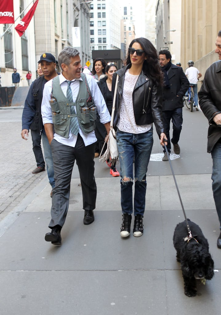 Amal Clooney Treats George to a Sweet Set Visit With His Dog