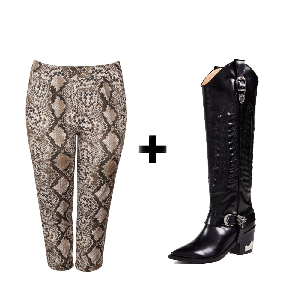 Boohoo Plus Snakeskin Tailored Trouser ($24, originally $44) + Toga Pulla Tall Buckled Boots ($690)