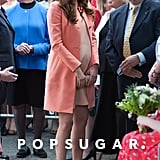 Kate Middleton wore a coral outfit to the hospice.
