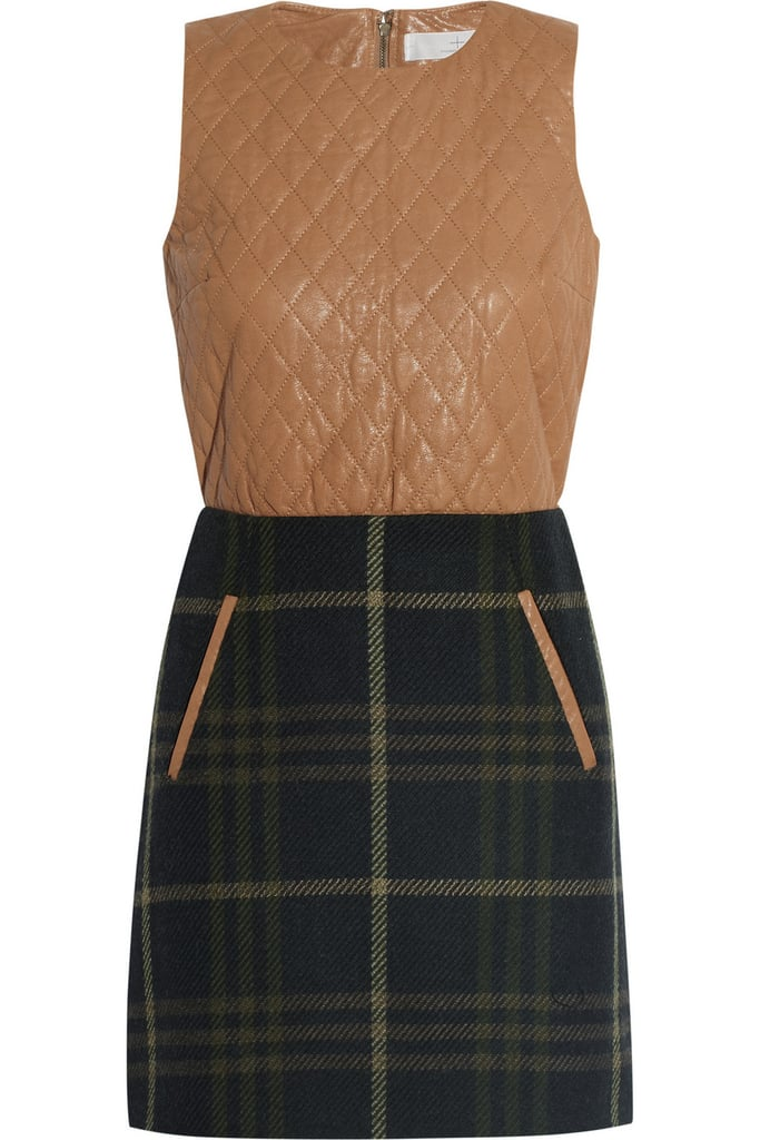 The quilted leather on this Thakoon Addition Quilted Leather and Plaid Wool-Blend Mini Dress ($760) gives it an unexpectedly luxe contrast — ideal for taking to the office with pumps and tights.