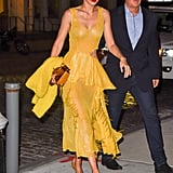 For the premiere of All I See Is You, Gigi wore a Prabal Gurung dress from the Spring '18 collection. She kept the yellow color theme running throughout the look with mustard colored pumps and sweater.