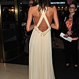 The open criss-cross back lent a sporty touch to her fairy-tale frock.
