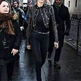It was all studs and smiles for Gigi while hanging in NYC.