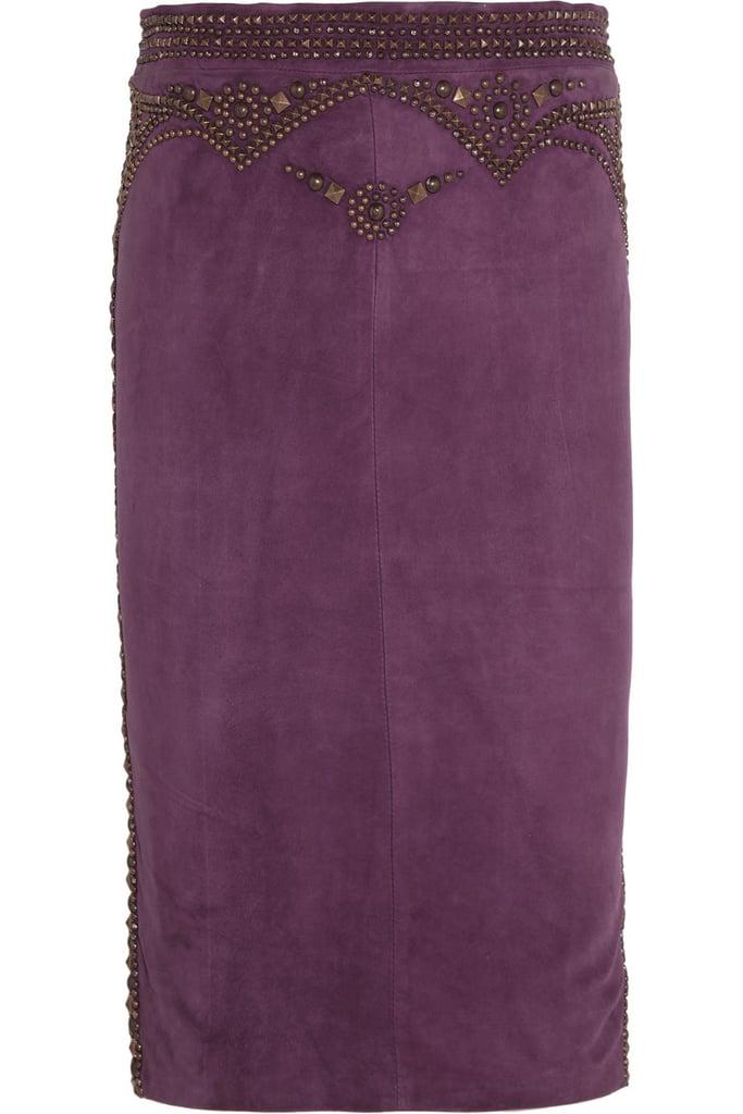 Roberto Cavalli Studded Suede Skirt