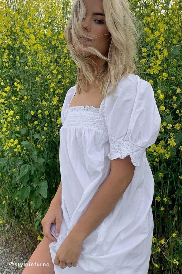UO Puff Sleeve Babydoll Dress