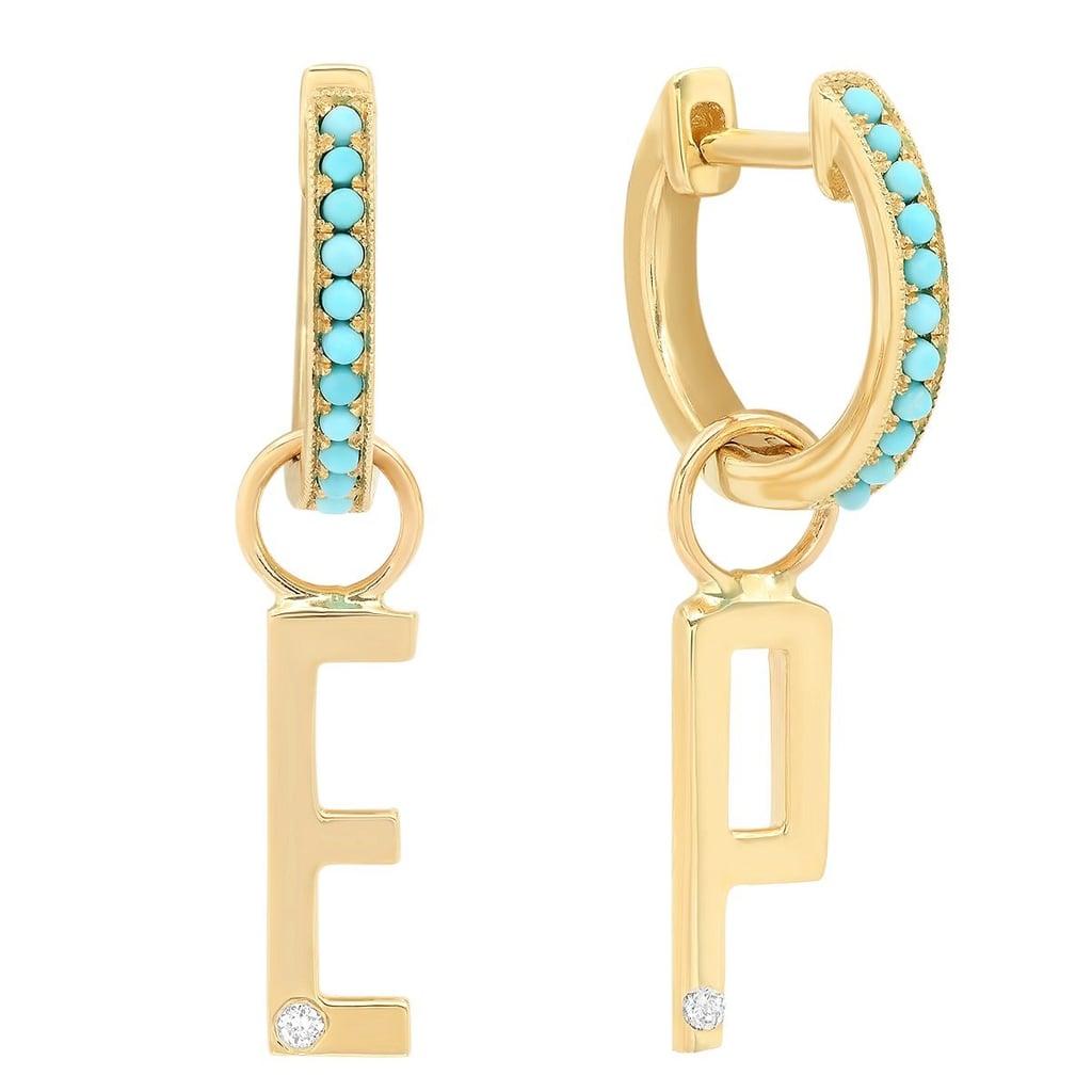 The Ashleigh Bergman Collective x Eden Presley Diamond Initial on Turquoise Huggie Earring