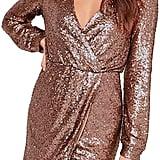 Irisie Sequins Wrap Deep V-Neck Long Sleeve Split Mini Dress