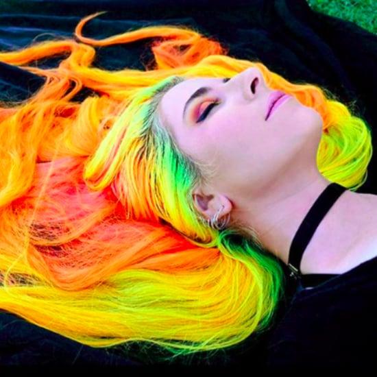 Woman With Long Rainbow Hair