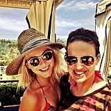 Julianne Hough wore shades and a straw hat while enjoying a sunny day with friends. Source: Instagram user juleshough