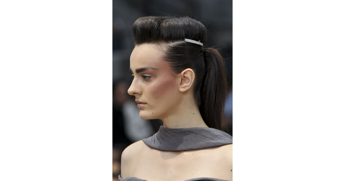 The Hair At Chanel Was A Pompadour And Ponytail Combination That Was