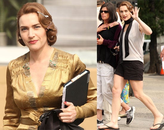 Pictures of Kate Winslet on Mildred Pierce Set