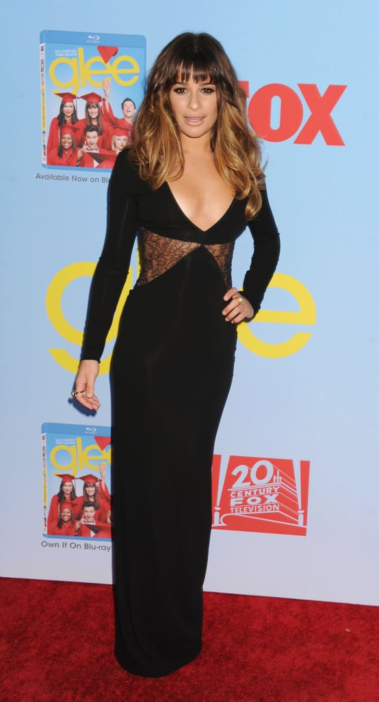 Lea Michele posed in her long black dress.