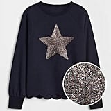 A  Scalloped Graphic Sweater ($40) will help any kid shine extra bright for New Year's Eve and beyond.