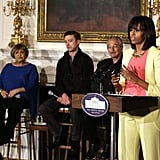 Michelle Obama spoke to students at the White House.