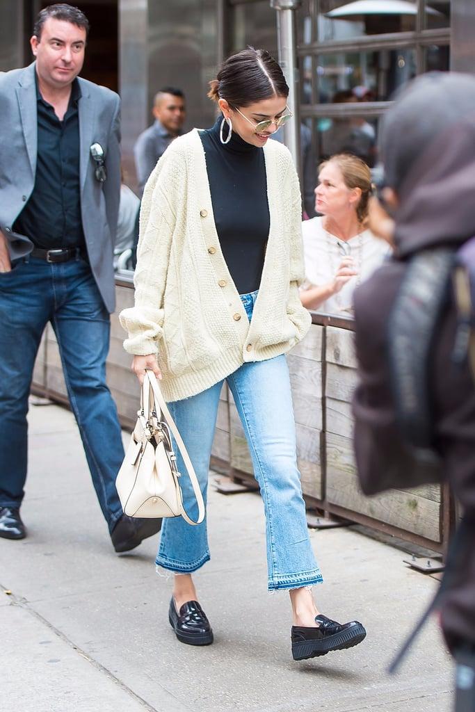 Selena Gomez Wearing Cream Cardigan in New York