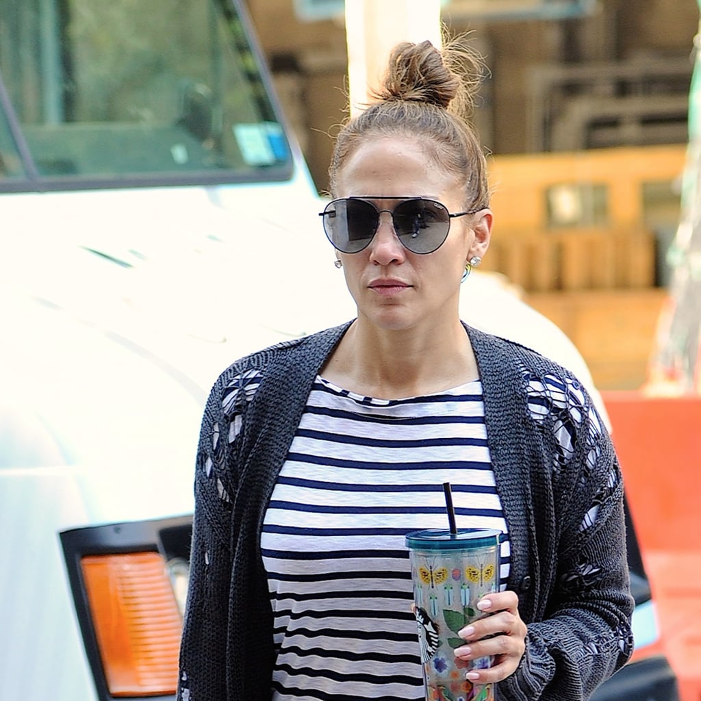 Jennifer Lopez Striped Dress August 2017