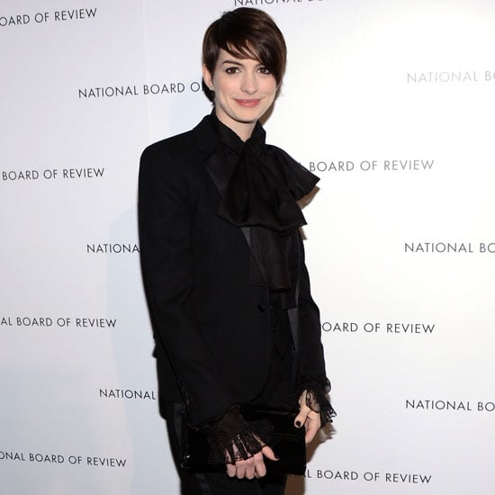 Anne Hathaway Wearing Black Suit