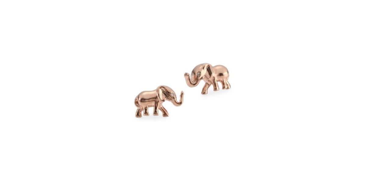 stud gold earrings things ornamental elephant