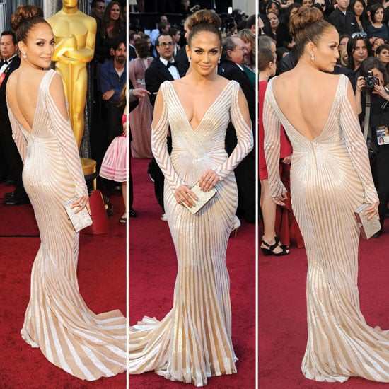 Pictures of Jennifer Lopez in Super Sexy Zuhair Murad Silver Gown at the 2012 Oscars: Va-Va-Voom!