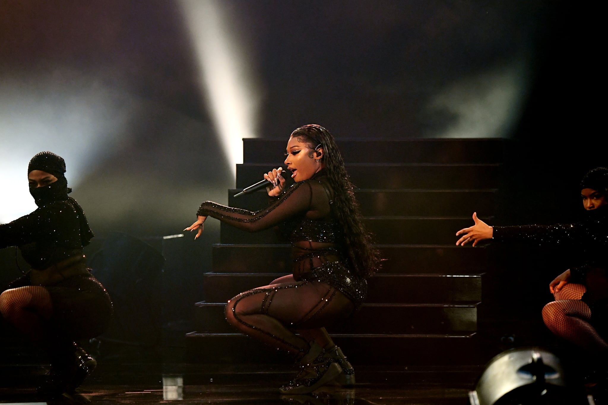 LOS ANGELES, CALIFORNIA - NOVEMBER 22: In this image released on November 22, Megan Thee Stallion performs onstage for the 2020 American Music Awards at Microsoft Theater on November 22, 2020 in Los Angeles, California. (Photo by Kevin Mazur/Getty Images for dcp)