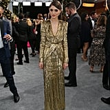 Natalia Dyer Gold Saint Laurent Dress at the SAG Awards