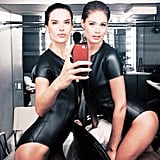 Alessandra Ambrosio and Doutzen Kroes showed that a double selfie (in matching leather leotards) is twice as nice. Source: Instagram user alessandraambrosio