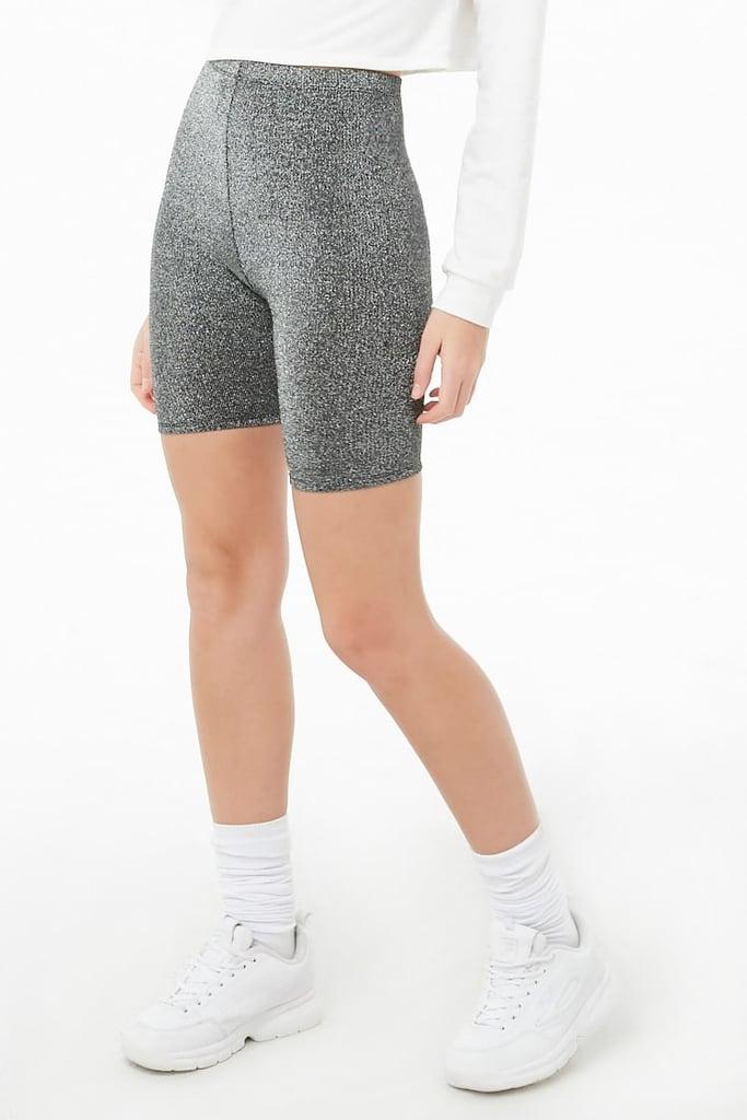 Forever 21 Womens Metallic Biker Shorts Shorts