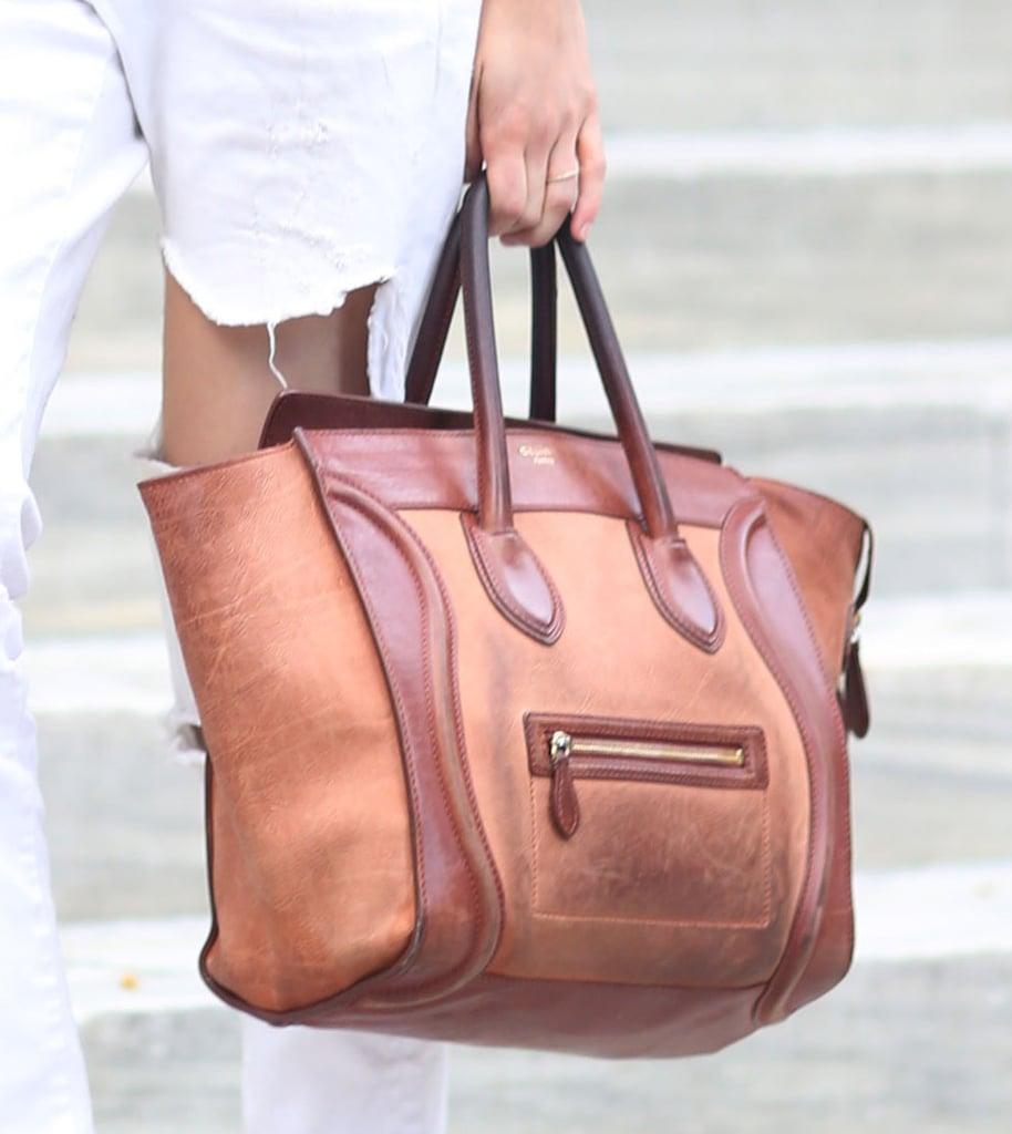 A buttery leather Céline popped against white denim. Source: Greg Kessler