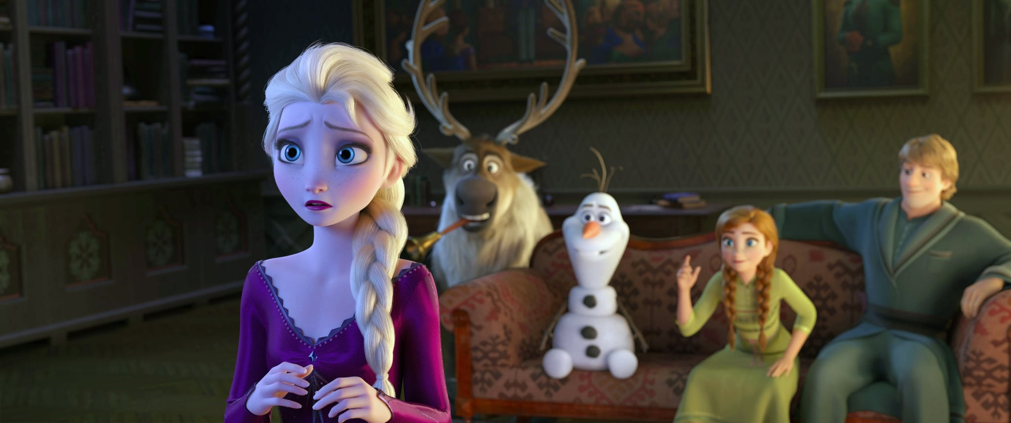 FROZEN II, (aka FROZEN 2), from left: Elsa (voice: Idina Menzel), Sven, Olaf (voice: Josh Gad), Anna (voice: Kristen Bell), Kristoff (voice: Jonathan Groff), 2019.  Walt Disney Studios Motion Pictures / courtesy Everett Collection