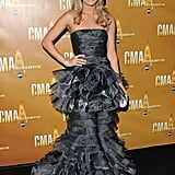 Carrie Underwood took to the carpet in a ruffly tiered Talbot Runhof.