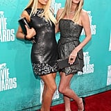 Paris and Nicky Hilton posed together at the 2012 MTV Movie Awards.