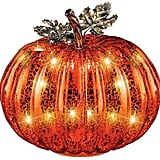 Festive Lighted Glass Pumpkin Indoor Fall Tabletop Decor