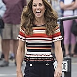 Kate Middleton Striped Peplum Shirt By Sandro 2019