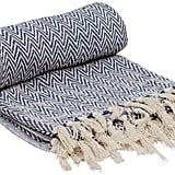 Reversible Chevron Throw Blanket With Tassels