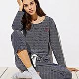 Loft Embroidered Striped Pajama Set