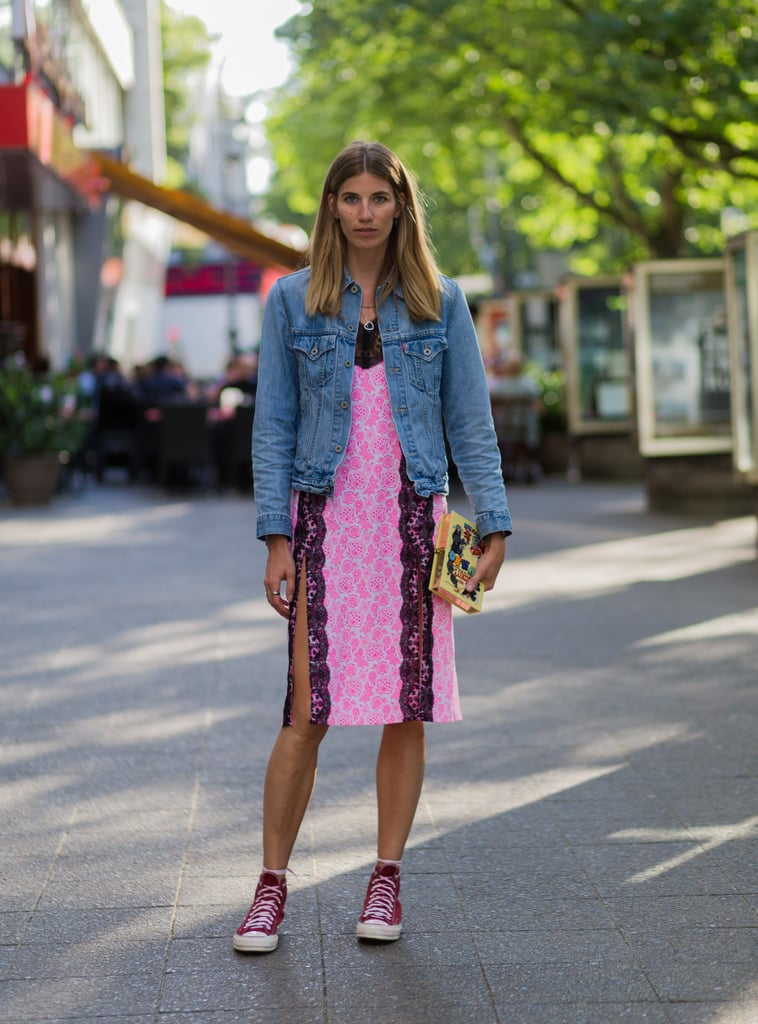 With a Lacy Dress and a Denim Jacket
