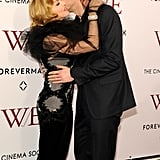 James D'Arcy gave Madonna a kiss on the cheek.
