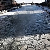The Chicago River Was Covered in Chunks of Ice