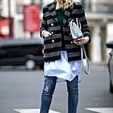 Play with proportions when you layer a short jacket over a tunic top.