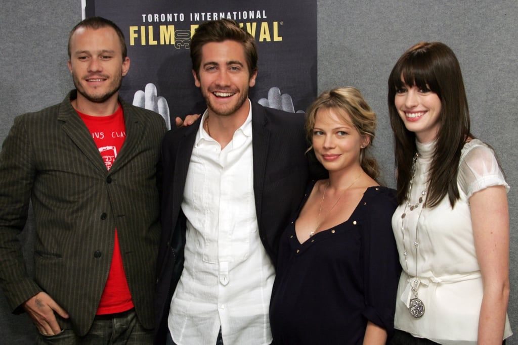 Brokeback Mountain cast members Heath Ledger, Jake Gyllenhaal, Michelle Williams and Anne Hathaway dressed casual for the movie's 2005 press conference.