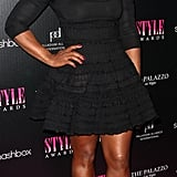 Serena Williams chose a knee grazing dress for the event.