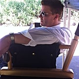 David Boreanaz tried to beat the heat on the set of Bones. Source: Twitter user it2Ian