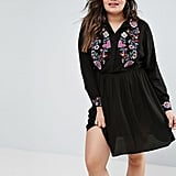 Asos Shirt Dress With Floral Embroidery