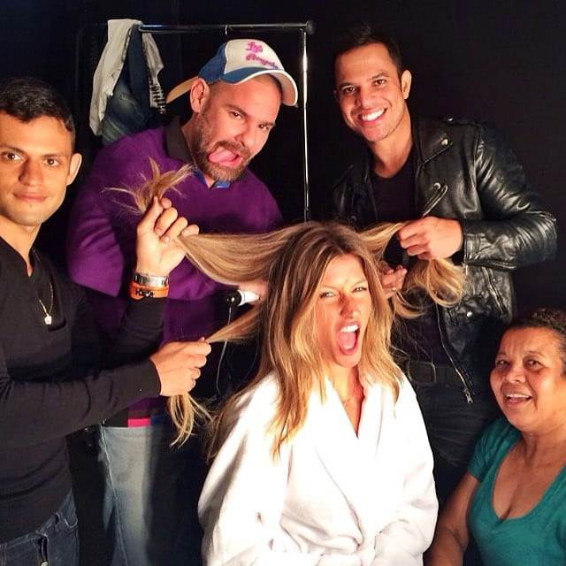 Gisele Bündchen's team had a bit of a tug-of-war fight with her hair. Source: Instagram user giseleofficial