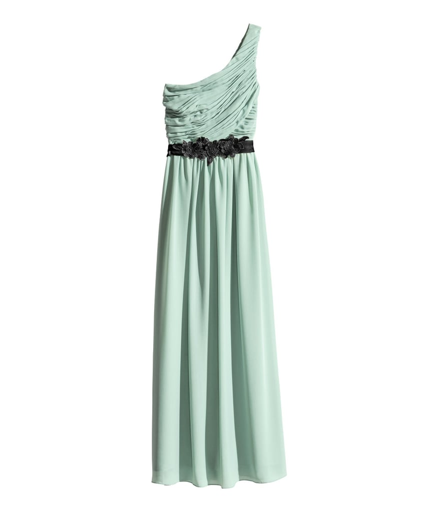H&M long one-shoulder gown with waist detail (£35)