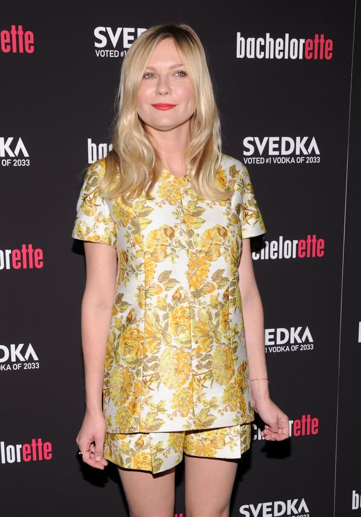 Kirsten Dunst wore a floral two-piece set.