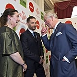 Tom Hardy greeted Prince Charles alongside his fellow Celebrity Trust Ambassador Olivia Colman at the Prince's Trust Awards in March 2018.