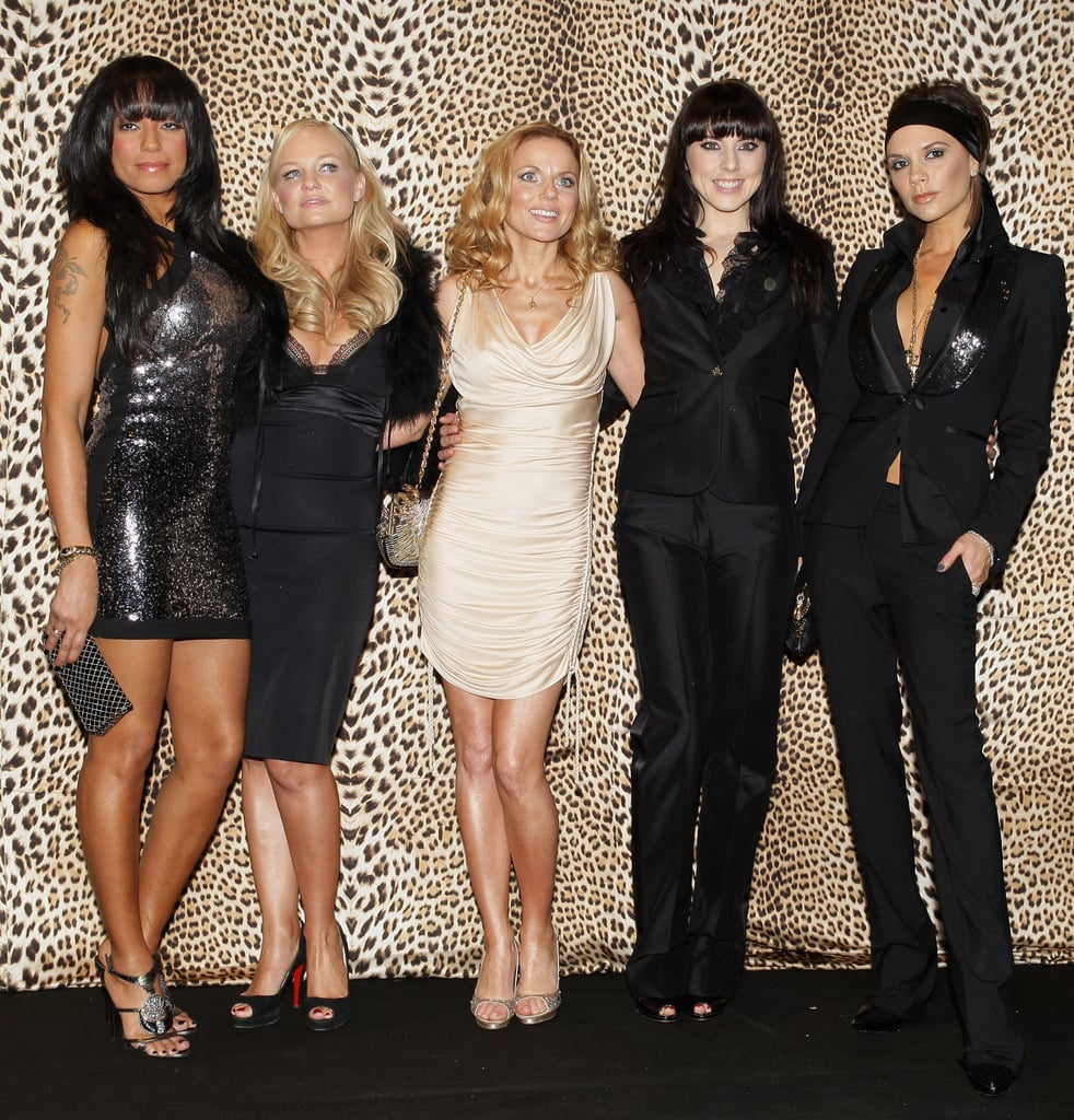 Melanie Brown, Emma Bunton, Geri Halliwell, Melanie Chisholm and Victoria Beckham attended Roberto Cavalli's Milan fashion show in January 2008.